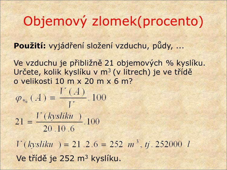 Vyjadřování složení směsí hmotnostní koncentrace c m (A) rozpuštěné látky A = podíl hmotnosti látky A a objemu roztoku V Základní jednotkou hmotnostní koncentrace je kg ⋅ m -3.