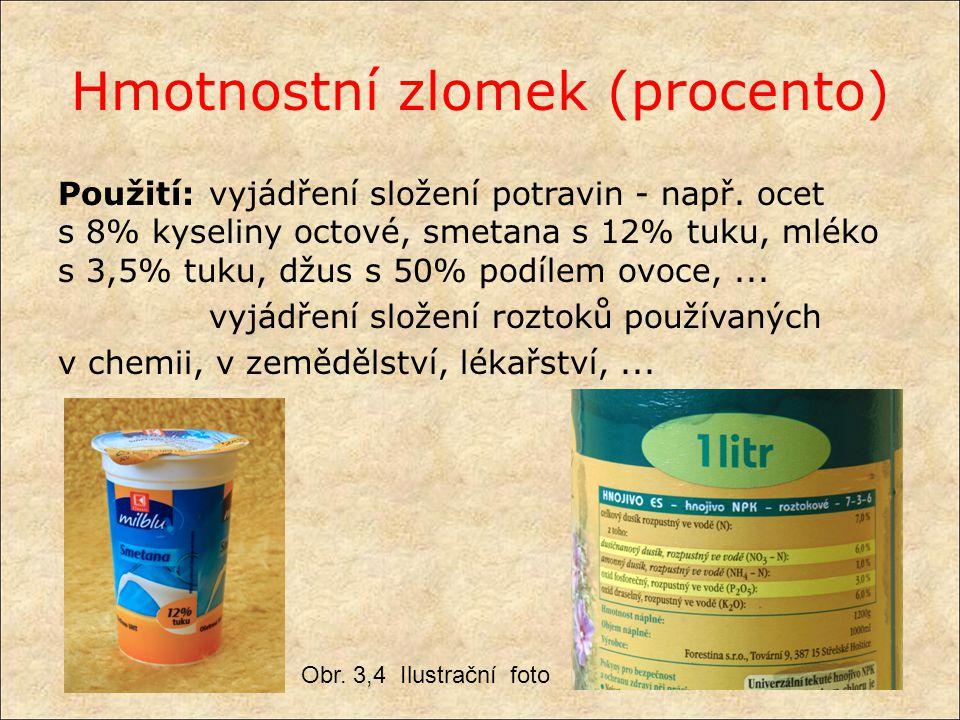 Hmotnostní zlomek (procento) Na plechovce slazeného plnotučného mléka o hmotnosti 400 g je uveden obsah 8 hmotnostních % tuku.