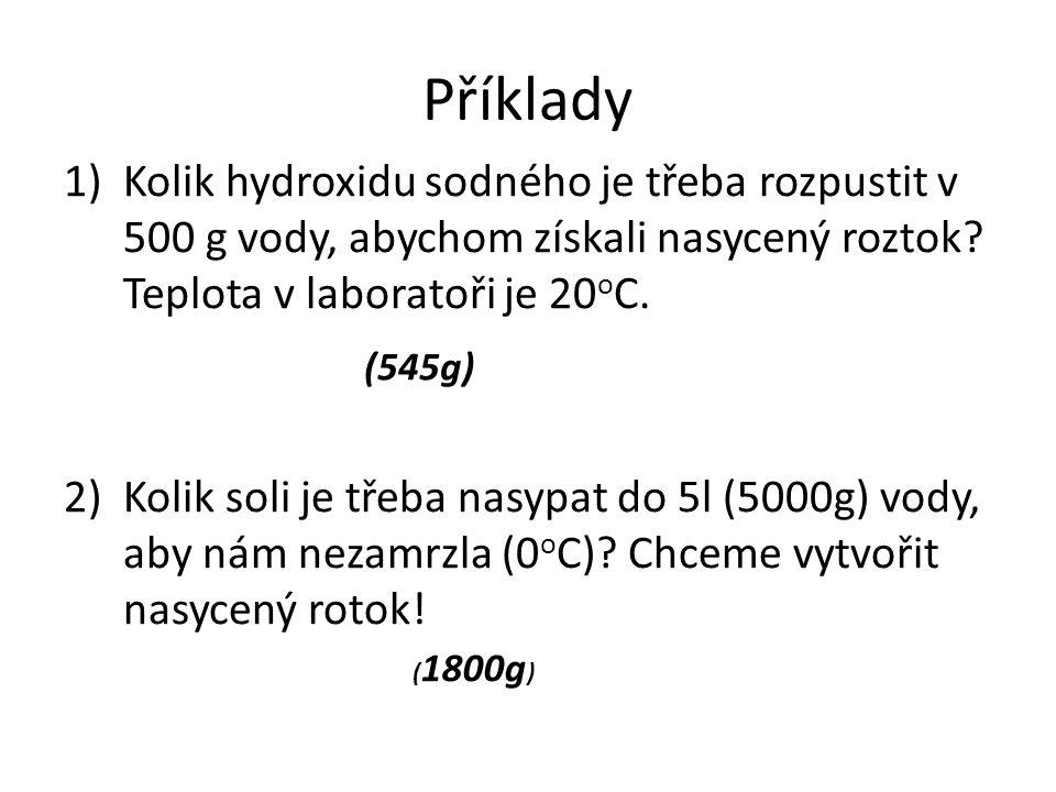 Příklady 1)Kolik hydroxidu sodného je třeba rozpustit v 500 g vody, abychom získali nasycený roztok? Teplota v laboratoři je 20 o C. 2)Kolik soli je t