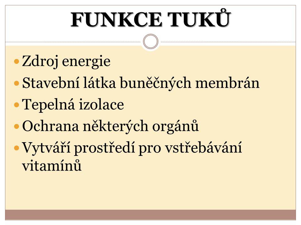 FUNKCE TUKŮ Zdroj energie Stavební látka buněčných membrán Tepelná izolace Ochrana některých orgánů Vytváří prostředí pro vstřebávání vitamínů