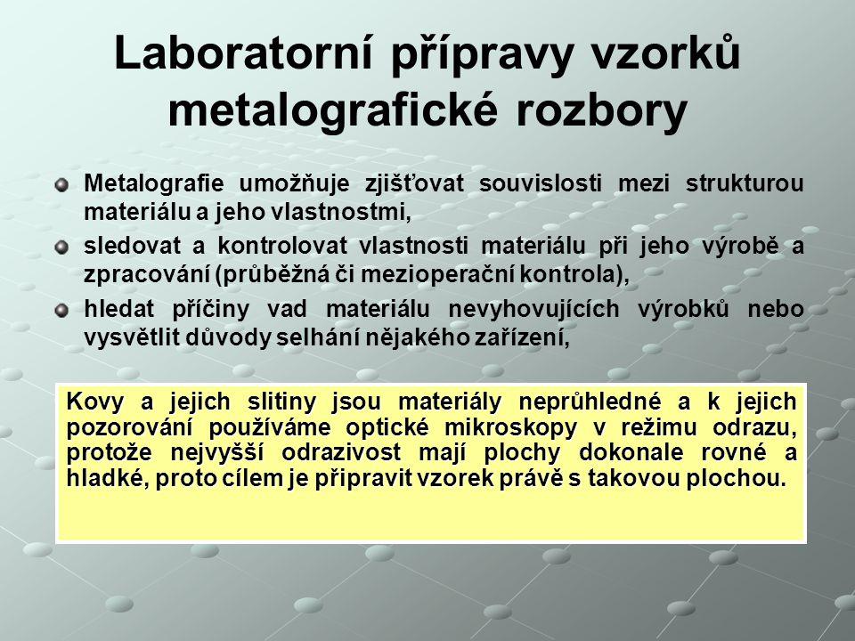 Laboratorní přípravy vzorků metalografické rozbory Metalografie umožňuje zjišťovat souvislosti mezi strukturou materiálu a jeho vlastnostmi, sledovat