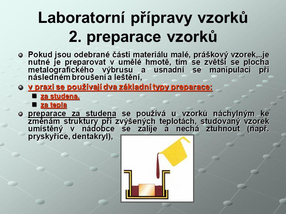 Laboratorní přípravy vzorků 2. preparace vzorků Pokud jsou odebrané části materiálu malé, práškový vzorek,..je nutné je preparovat v umělé hmotě, tím