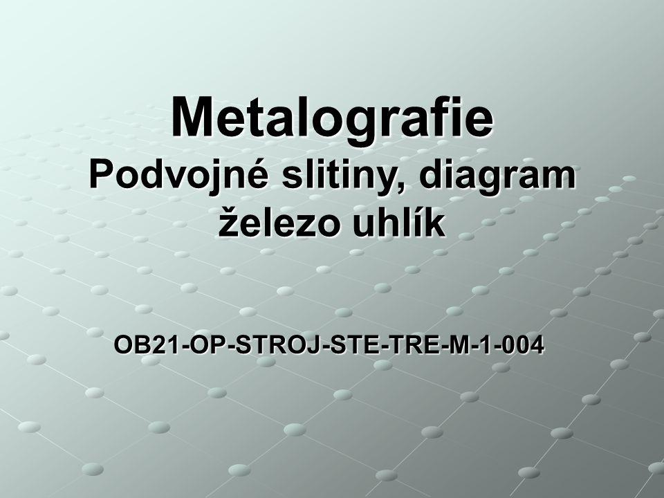 OB21-OP-STROJ-STE-TRE-M-1-004 Metalografie Podvojné slitiny, diagram železo uhlík