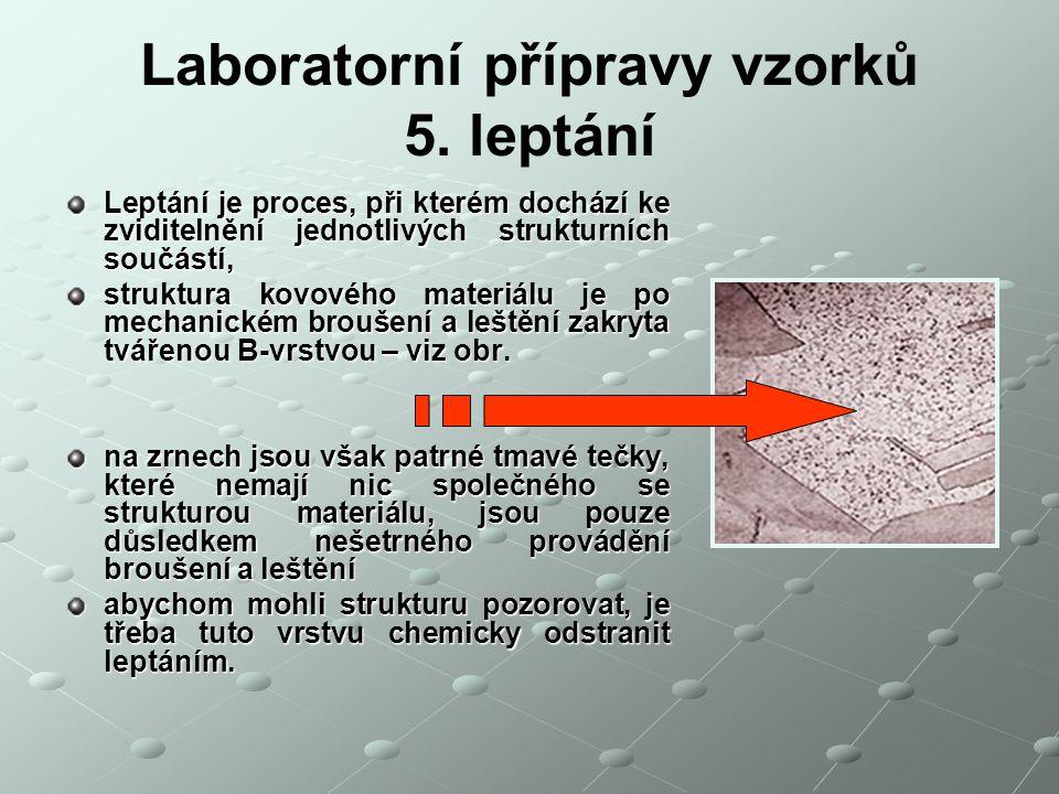 Laboratorní přípravy vzorků 5. leptání Leptání je proces, při kterém dochází ke zviditelnění jednotlivých strukturních součástí, struktura kovového ma
