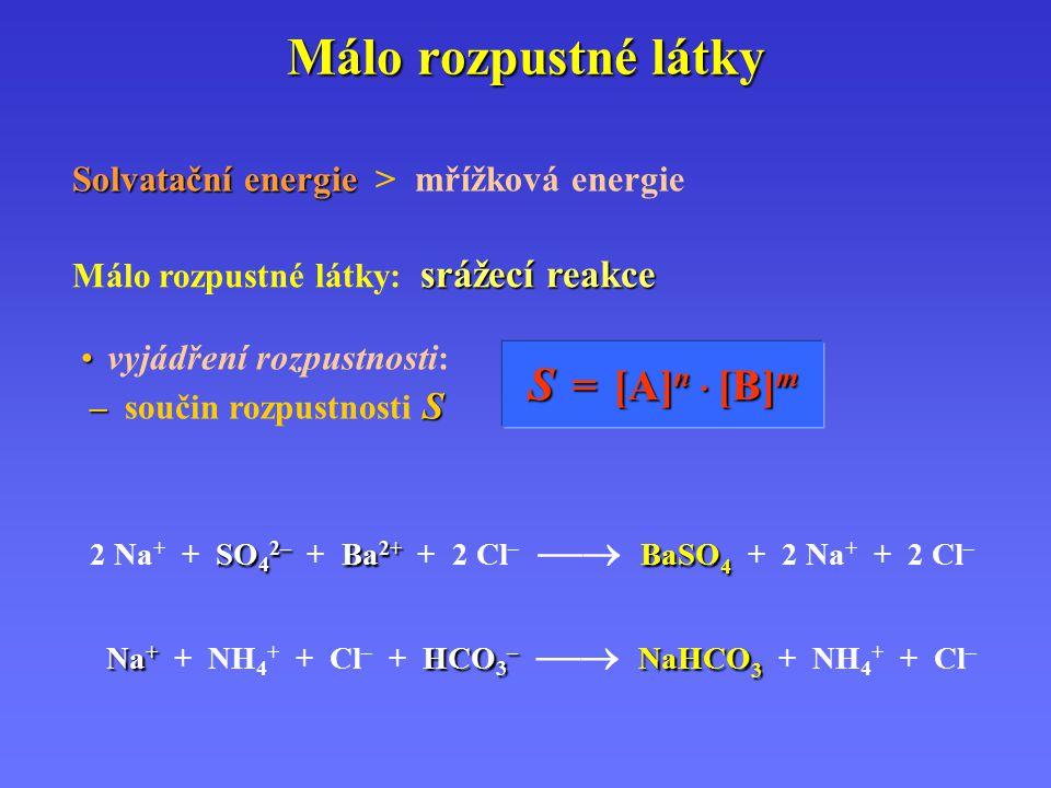Málo rozpustné látky Solvatační energie Solvatační energie > mřížková energie srážecí reakce Málo rozpustné látky: srážecí reakce SO 4 2– Ba 2+ BaSO 4 2 Na + + SO 4 2– + Ba 2+ + 2 Cl –  BaSO 4 + 2 Na + + 2 Cl – Na + HCO 3 – NaHCO 3 Na + + NH 4 + + Cl – + HCO 3 –  NaHCO 3 + NH 4 + + Cl – vyjádření rozpustnosti : – S – součin rozpustnosti S S = = = = [ [ [ [A]n · [B]m