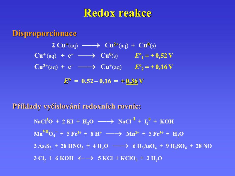 Redox reakce Příklady vyčíslování redoxních rovnic: NaCl I O + 2 KI + H 2 O  NaCl –I + I 2 0 + KOH Mn VII O 4 – + 5 Fe 2+ + 8 H +  Mn 2+ + 5 Fe 3+ + H 2 O 3 As 2 S 2 + 28 HNO 3 + 4 H 2 O  6 H 3 AsO 4 + 9 H 2 SO 4 + 28 NO 3 Cl 2 + 6 KOH  5 KCl + KClO 3 + 3 H 2 O Disproporcionace +2+0 2 Cu + (aq)  Cu 2+ (aq) + Cu 0 (s) Cu + (aq) + e –  Cu 0 (s) Eº 1 = + 0,52 V Cu 2+ (aq) + e –  Cu + (aq) Eº 2 = + 0,16 V Eº + 0,36 V Eº = 0,52 – 0,16 = + 0,36 V