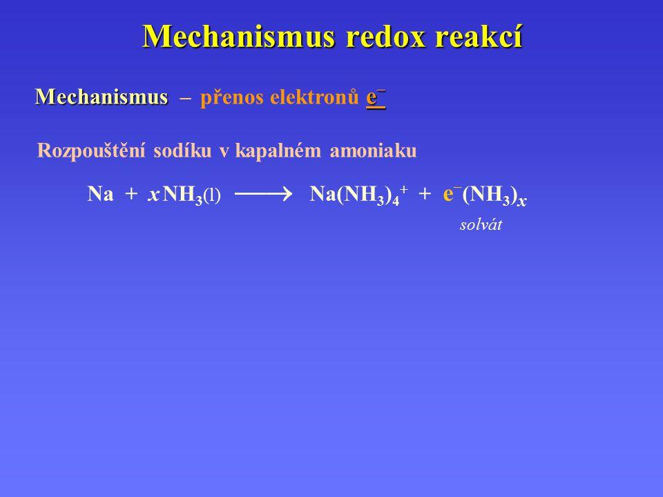 Mechanismus redox reakcí Mechanismus e – Mechanismus – přenos elektronů e – solvát Rozpouštění sodíku v kapalném amoniaku Na + x NH 3 (l)  Na(NH 3 )