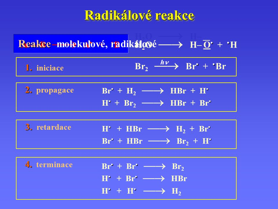 Radikálové reakce A — B  A + B H 2 O  H– __ H 2 O  H– O + H Br 2  Br + Br h 1. 1. iniciace Br + H 2  HBr + H H + Br 2  HBr + Br 3. 3. reta