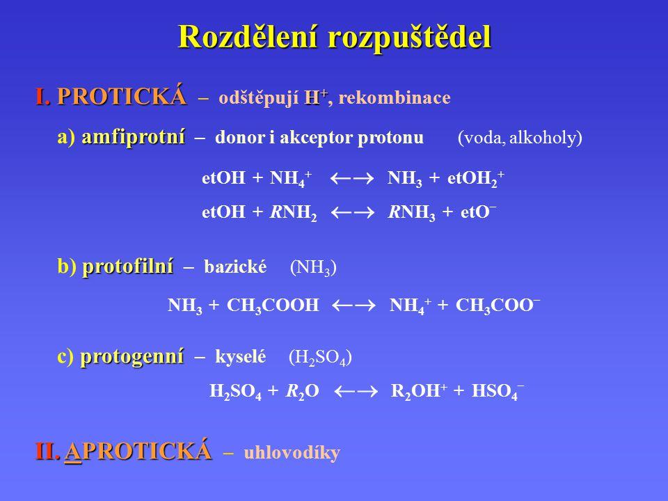 Rozdělení rozpuštědel I. PROTICKÁ H + I. PROTICKÁ – odštěpují H +, rekombinace etOH + NH 4 +  NH 3 + etOH 2 + etOH + RNH 2  RNH 3 + etO – amfiprot