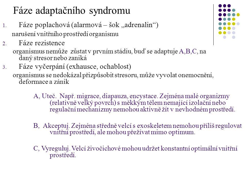 """Fáze adaptačního syndromu 1. Fáze poplachová (alarmová – šok """"adrenalin"""") narušení vnitřního prostředí organismu 2. Fáze rezistence organismus nemůže"""