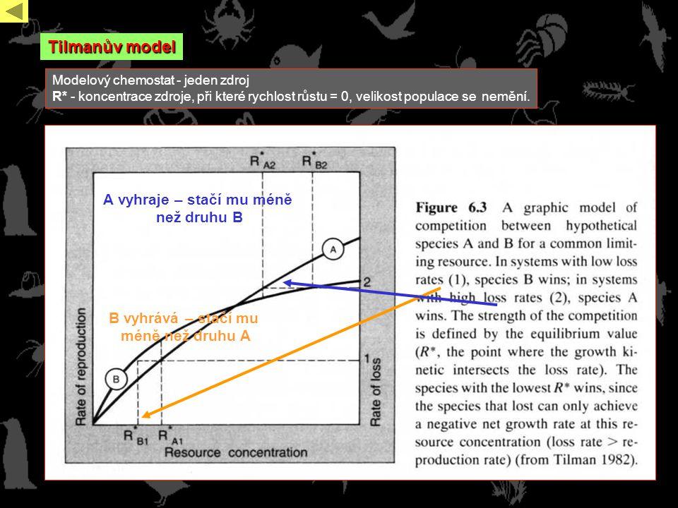 Tilmanův model Modelový chemostat - jeden zdroj R* - koncentrace zdroje, při které rychlost růstu = 0, velikost populace se nemění.