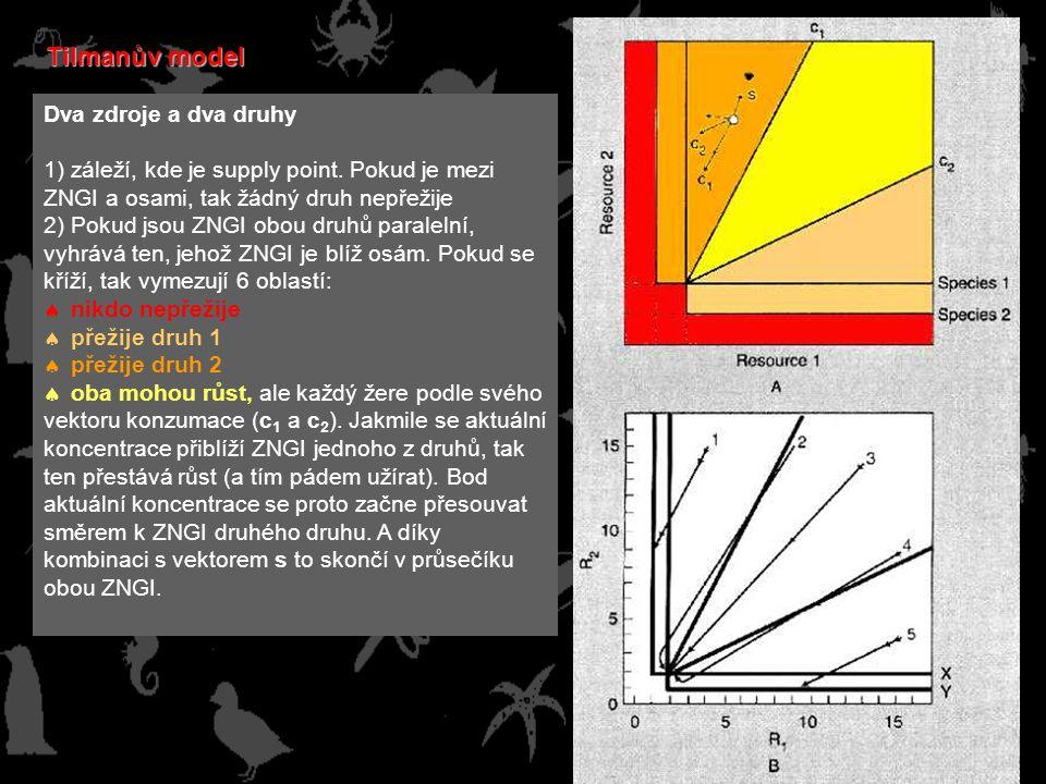 Tilmanův model Dva zdroje a dva druhy 1) záleží, kde je supply point.
