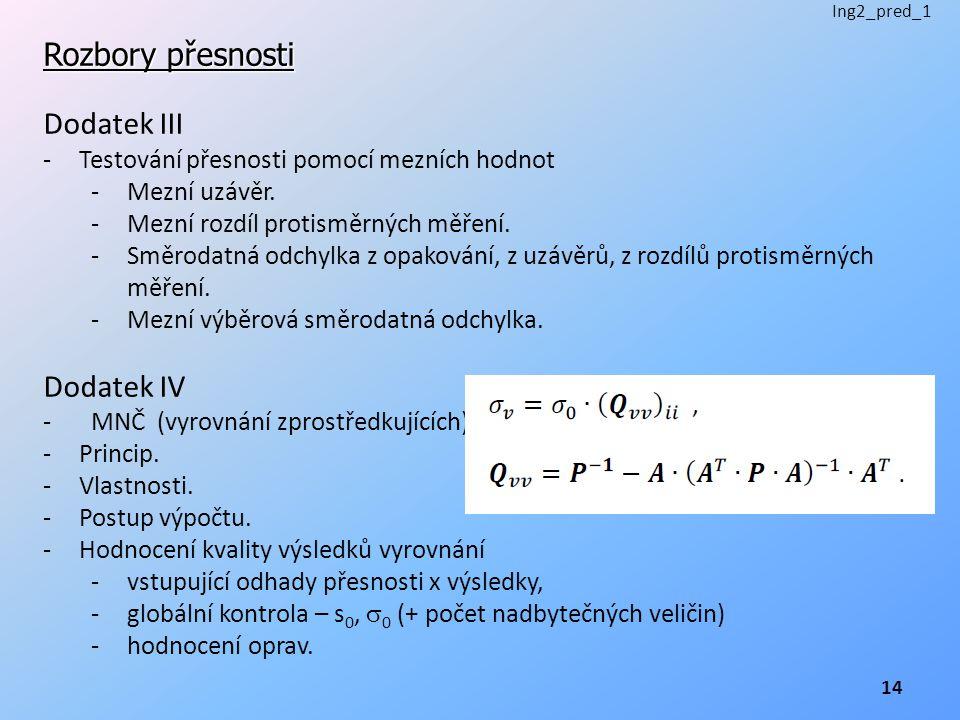 Rozbory přesnosti Dodatek III -Testování přesnosti pomocí mezních hodnot -Mezní uzávěr. -Mezní rozdíl protisměrných měření. -Směrodatná odchylka z opa