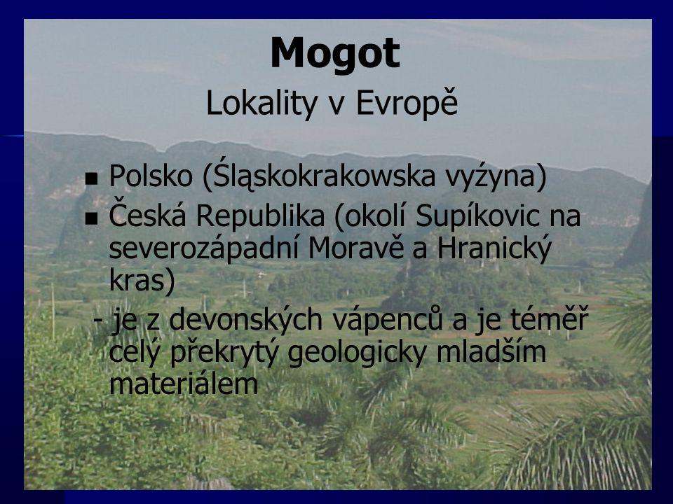 Polsko (Śląskokrakowska vyźyna) Česká Republika (okolí Supíkovic na severozápadní Moravě a Hranický kras) - je z devonských vápenců a je téměř celý př
