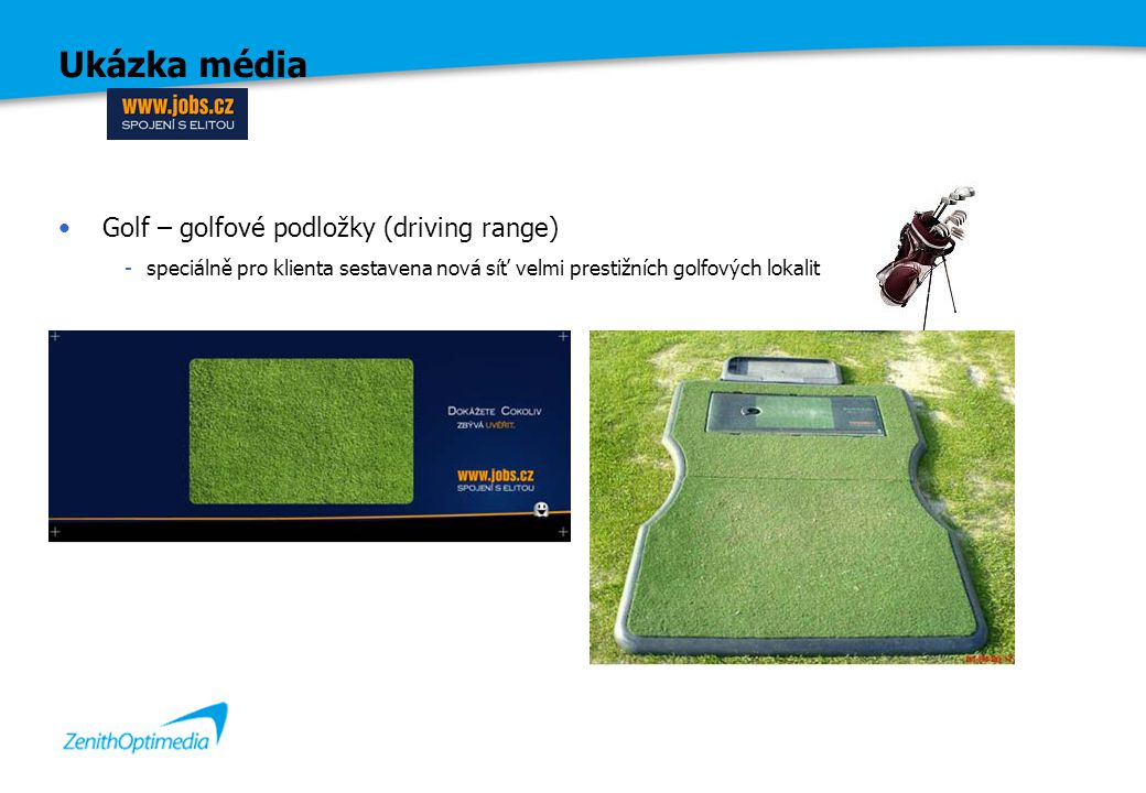 Ukázka média Golf – golfové podložky (driving range) -speciálně pro klienta sestavena nová síť velmi prestižních golfových lokalit