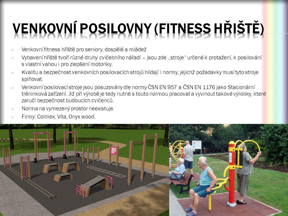 """ Venkovní fitness hřiště pro seniory, dospělé a mládež  Vybavení hřiště tvoří různé druhy cvičebního nářadí – jsou zde """"stroje"""" určené k protažení,"""