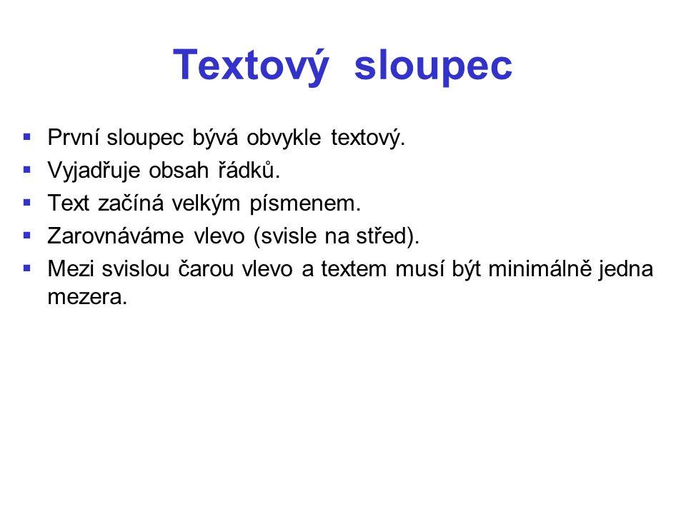 Textový sloupec   První sloupec bývá obvykle textový.