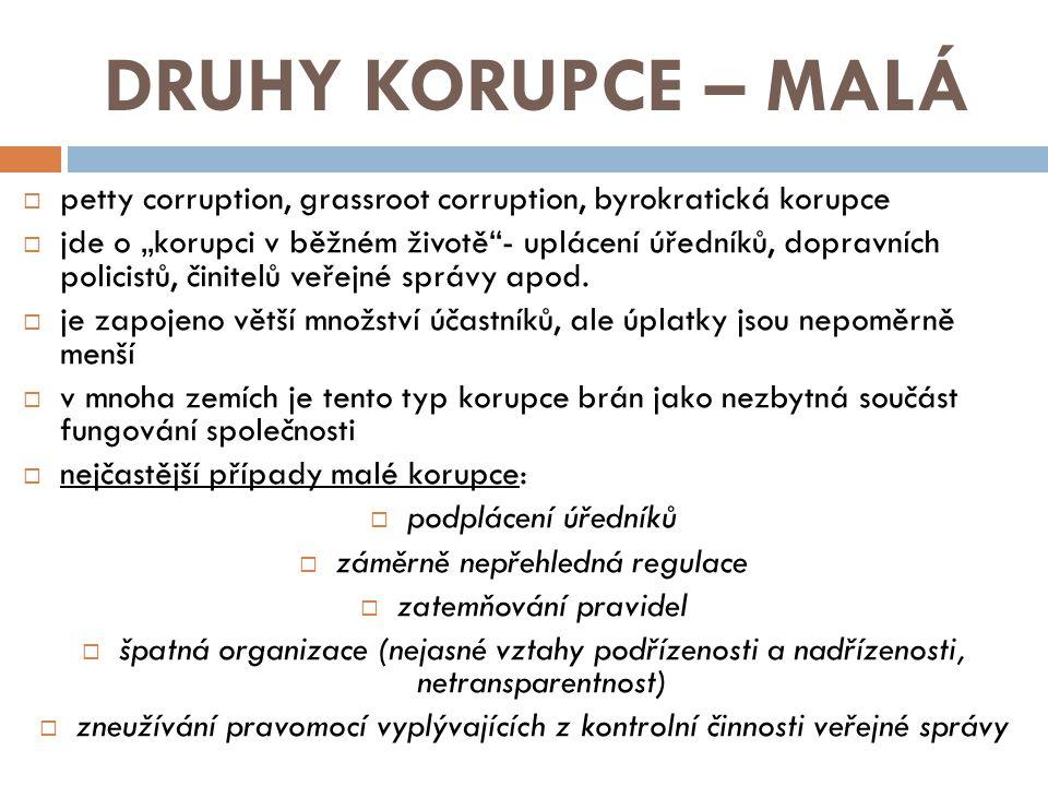 """DRUHY KORUPCE – MALÁ  petty corruption, grassroot corruption, byrokratická korupce  jde o """"korupci v běžném životě""""- uplácení úředníků, dopravních p"""