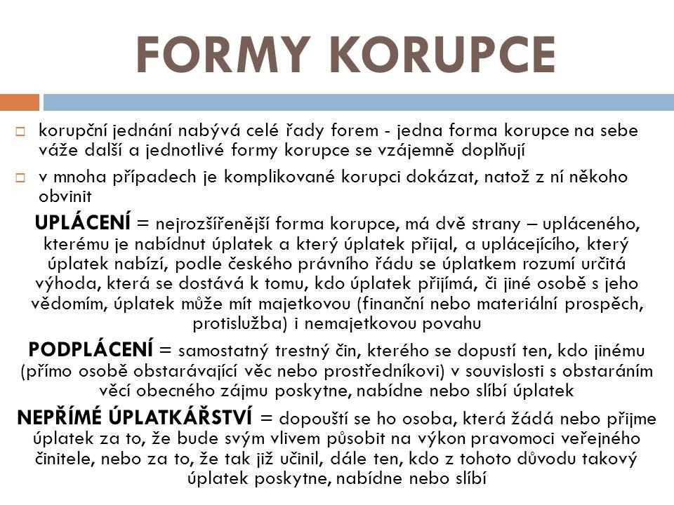 ZDROJE  http://cs.wikipedia.org/wiki/Korupce http://cs.wikipedia.org/wiki/Korupce  http://www.lidovky.cz/zakon-proti-korupci-je-precpany-jako-kdyz-pejsek-a- kocicka-varili-dort-1ew-/zpravy- domov.aspx?c=A110215_201937_ln_domov_ter http://www.lidovky.cz/zakon-proti-korupci-je-precpany-jako-kdyz-pejsek-a- kocicka-varili-dort-1ew-/zpravy- domov.aspx?c=A110215_201937_ln_domov_ter  http://www.reflex.cz/clanek/dokument/39170/zebricky-korupce-jsou-v-pripade- ceska-nekdy-nesmyslne.html http://www.reflex.cz/clanek/dokument/39170/zebricky-korupce-jsou-v-pripade- ceska-nekdy-nesmyslne.html  http://cs.wikipedia.org/wiki/Index_vn%C3%ADm%C3%A1n%C3%AD_korupce http://cs.wikipedia.org/wiki/Index_vn%C3%ADm%C3%A1n%C3%AD_korupce  http://www.transparency.cz/hodnoceni-ceske-republiky-indexu-vnimani-korupce- cpi-2012-od/ http://www.transparency.cz/hodnoceni-ceske-republiky-indexu-vnimani-korupce- cpi-2012-od/  http://cs.wikipedia.org/wiki/Nada%C4%8Dn%C3%AD_fond_proti_korupci http://cs.wikipedia.org/wiki/Nada%C4%8Dn%C3%AD_fond_proti_korupci  http://cs.wikipedia.org/wiki/Transparency_International http://cs.wikipedia.org/wiki/Transparency_International  http://www.deloittelegal.cz/pro-bono.html http://www.deloittelegal.cz/pro-bono.html  http://www.lidovky.cz/ln-infografika.asp?grafika=nejznamejsi-korupcni- kauzy&section=3 http://www.lidovky.cz/ln-infografika.asp?grafika=nejznamejsi-korupcni- kauzy&section=3  http://www.letorost.cz/extra/korupce/ http://www.letorost.cz/extra/korupce/