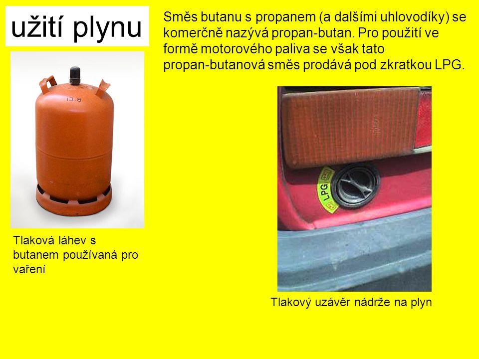 užití plynu Tlaková láhev s butanem používaná pro vaření Směs butanu s propanem (a dalšími uhlovodíky) se komerčně nazývá propan-butan.