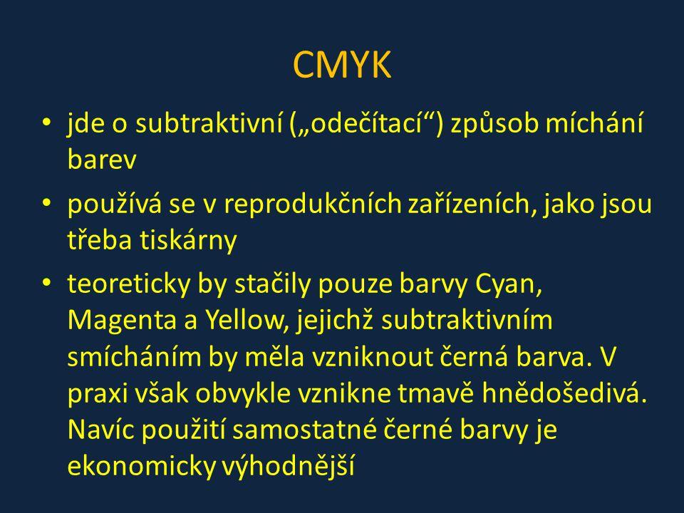 """CMYK jde o subtraktivní (""""odečítací"""") způsob míchání barev používá se v reprodukčních zařízeních, jako jsou třeba tiskárny teoreticky by stačily pouze"""