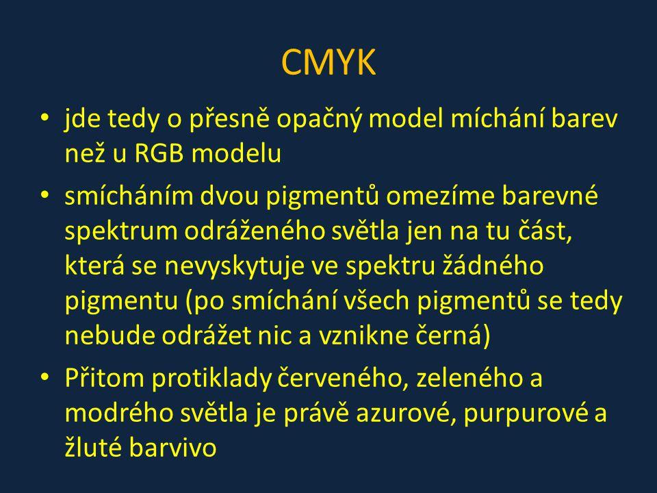 CMYK jde tedy o přesně opačný model míchání barev než u RGB modelu smícháním dvou pigmentů omezíme barevné spektrum odráženého světla jen na tu část,