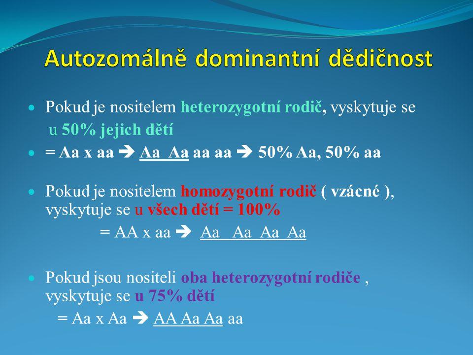  Pokud je nositelem heterozygotní rodič, vyskytuje se u 50% jejich dětí  = Aa x aa  Aa Aa aa aa  50% Aa, 50% aa  Pokud je nositelem homozygotní r