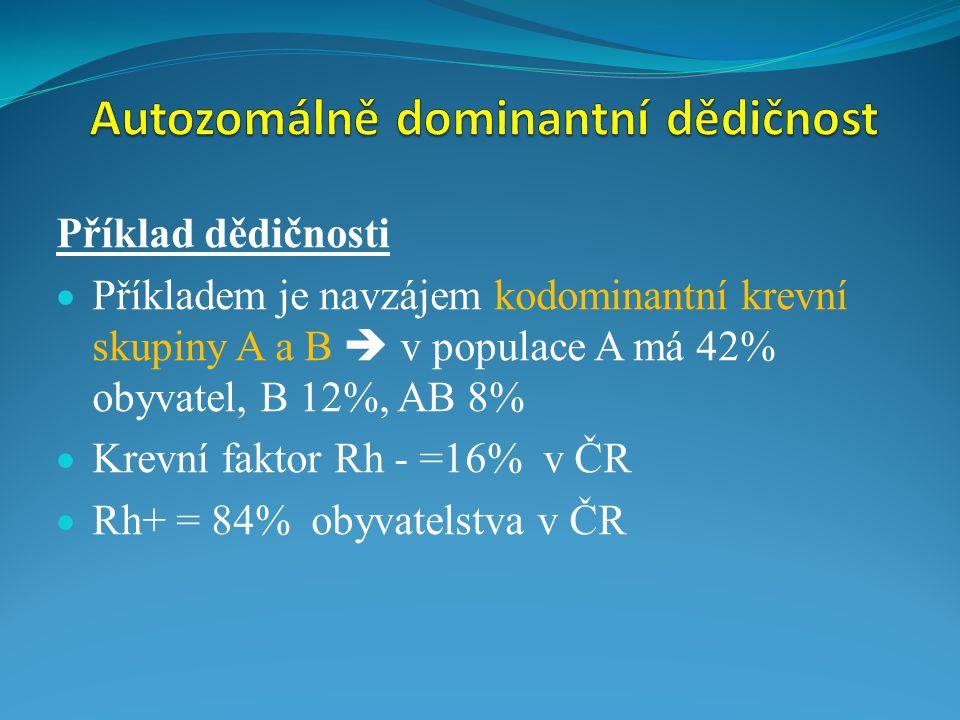 Příklad dědičnosti  Příkladem je navzájem kodominantní krevní skupiny A a B  v populace A má 42% obyvatel, B 12%, AB 8%  Krevní faktor Rh - =16% v
