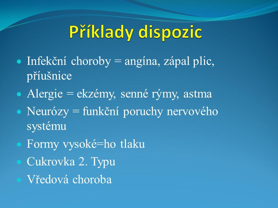  Infekční choroby = angína, zápal plic, příušnice  Alergie = ekzémy, senné rýmy, astma  Neurózy = funkční poruchy nervového systému  Formy vysoké=