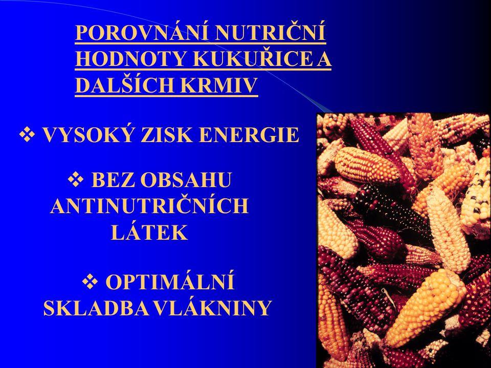 POROVNÁNÍ NUTRIČNÍ HODNOTY KUKUŘICE A DALŠÍCH KRMIV  VYSOKÝ ZISK ENERGIE  BEZ OBSAHU ANTINUTRIČNÍCH LÁTEK  OPTIMÁLNÍ SKLADBA VLÁKNINY