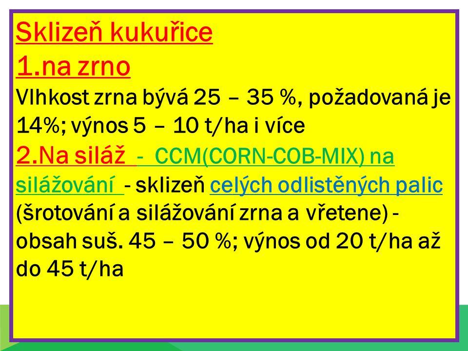Sklizeň kukuřice 1.na zrno Vlhkost zrna bývá 25 – 35 %, požadovaná je 14%; výnos 5 – 10 t/ha i více 2.Na siláž - CCM(CORN-COB-MIX) na silážování - skl