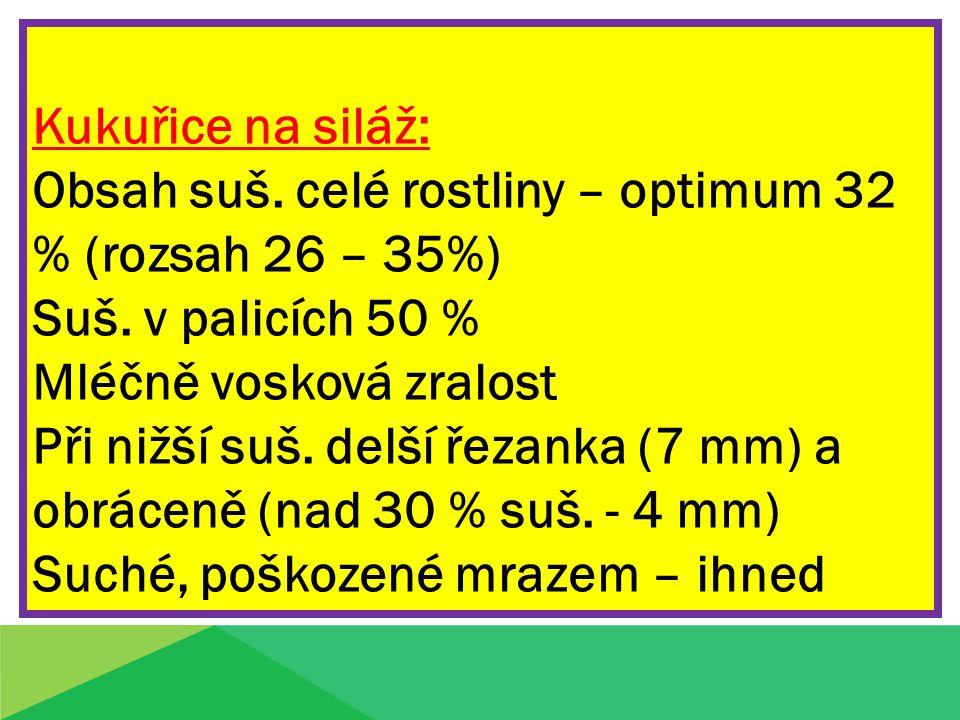 Kukuřice na siláž: Obsah suš. celé rostliny – optimum 32 % (rozsah 26 – 35%) Suš. v palicích 50 % Mléčně vosková zralost Při nižší suš. delší řezanka