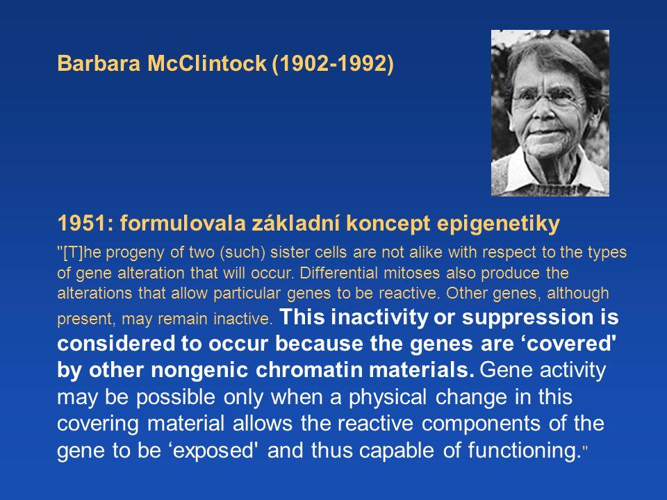 Barbara McClintock (1902-1992) 1951: formulovala základní koncept epigenetiky