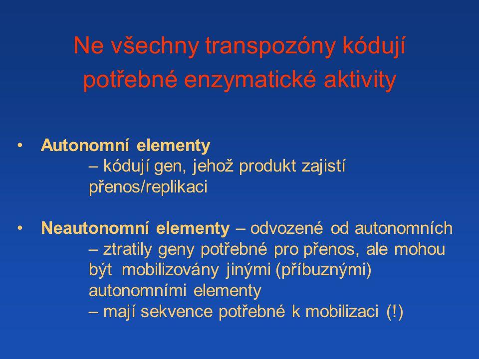 Ne všechny transpozóny kódují potřebné enzymatické aktivity Autonomní elementy – kódují gen, jehož produkt zajistí přenos/replikaci Neautonomní elementy – odvozené od autonomních – ztratily geny potřebné pro přenos, ale mohou být mobilizovány jinými (příbuznými) autonomními elementy – mají sekvence potřebné k mobilizaci (!)