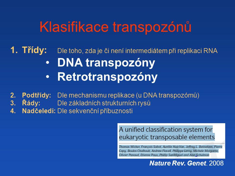 Klasifikace transpozónů Nature Rev. Genet. 2008 1.Třídy: Dle toho, zda je či není intermediátem při replikaci RNA DNA transpozóny Retrotranspozóny 2.P