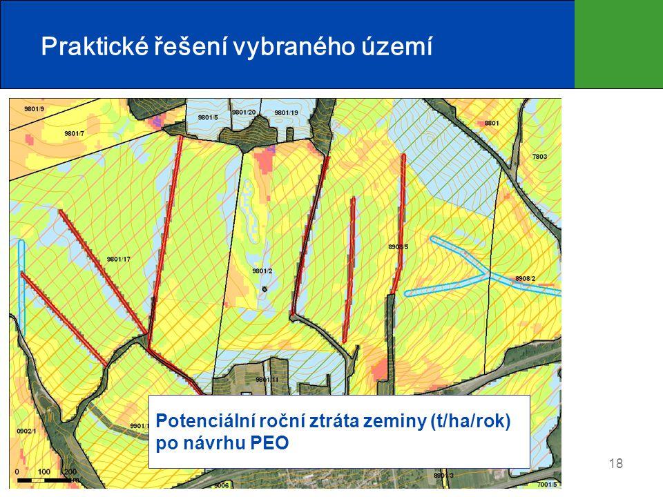 18 Praktické řešení vybraného území Potenciální roční ztráta zeminy (t/ha/rok) po návrhu PEO