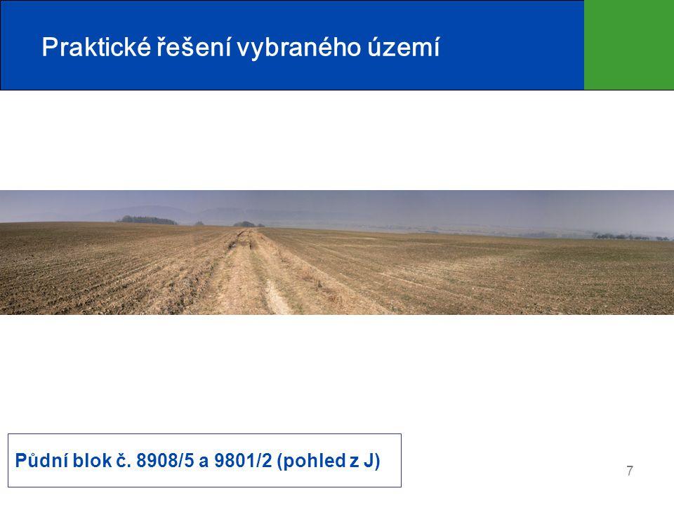 8 Praktické řešení vybraného území Potenciální roční ztráta zeminy (t/ha/rok) při pěstování kukuřice