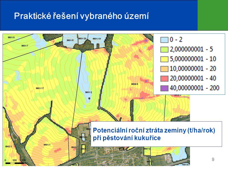 10 Praktické řešení vybraného území Stabilizace DSO Plošná PEO: Liniová PEO: Vyloučení ŠP Ochranné zatravnění Zasakovací pás Protierozní mez Protierozní agrotechnika