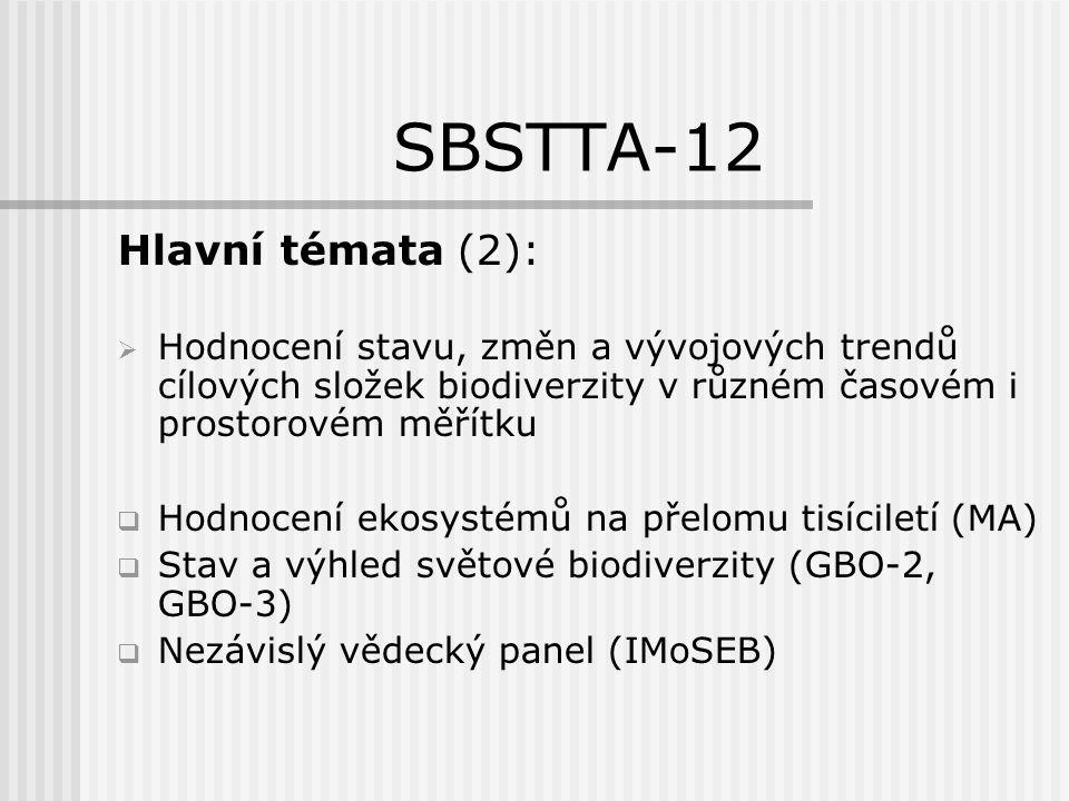 SBSTTA-12 Hlavní témata (3):  Biodiverzita a změna podnebí  CBD – témata zahrnout do všech tématických programů a průřezových činností  důraz na adaptační opatření