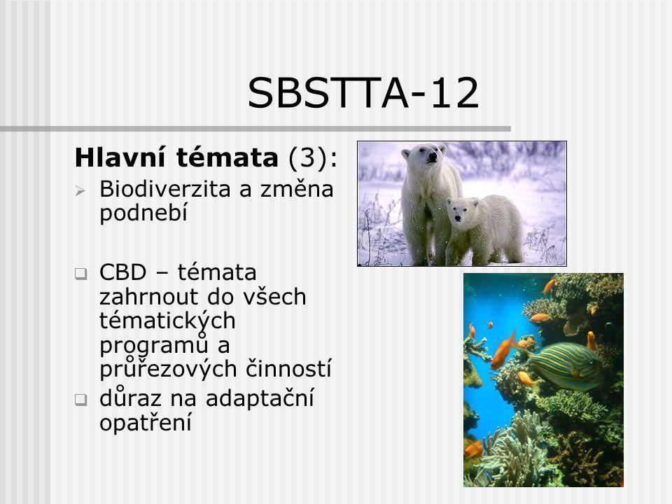 SBSTTA-12 Hlavní témata (4):  Biodiverzita a změna podnebí  smluvní strany: určení ohrožených oblastí a typů ekosystémů aktualizace národních strategií a akčních plánů ochrany biodiverzity monitorovací programy ekosystémový přístup ochrana mokřadů pomoc rozvojovým zemím slaďování činností při realizaci mezinárodních mnohostranných úmluv