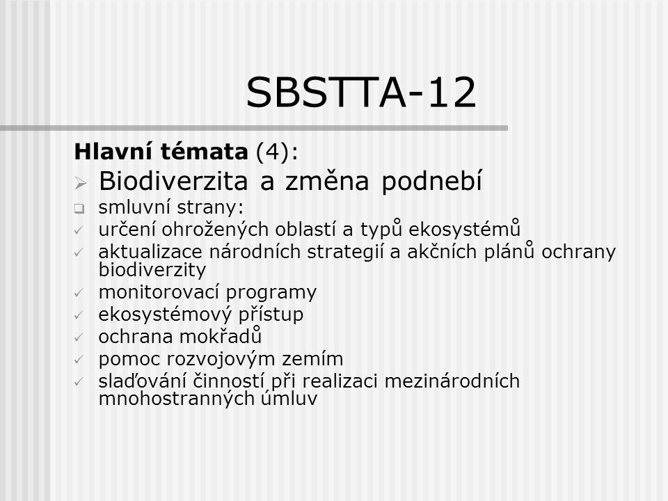 SBSTTA-12 Nové a urgentní téma: BIOPALIVA vyhraněná diskuse plusy a mínusy, ale ne SWOT analýza chybí postup pro šetrnou výrobu včetně certifikace COP-9 má brát v úvahu i.
