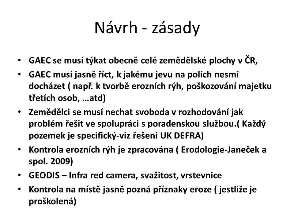 Návrh - zásady GAEC se musí týkat obecně celé zemědělské plochy v ČR, GAEC musí jasně říct, k jakému jevu na polích nesmí docházet ( např.