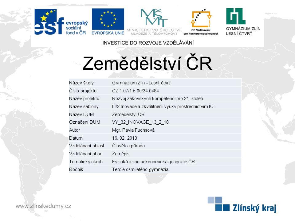 Zemědělství ČR Jaké faktory nejvíce ovlivňují zemědělství.