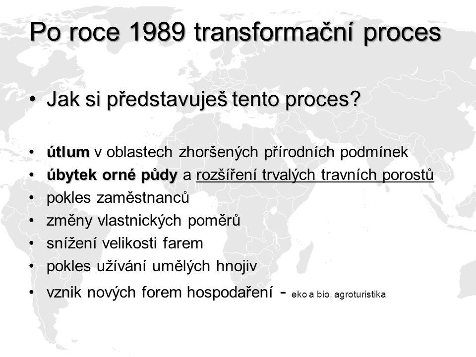 Po roce 1989 transformační proces Jak si představuješ tento proces?Jak si představuješ tento proces? útlumútlum v oblastech zhoršených přírodních podm