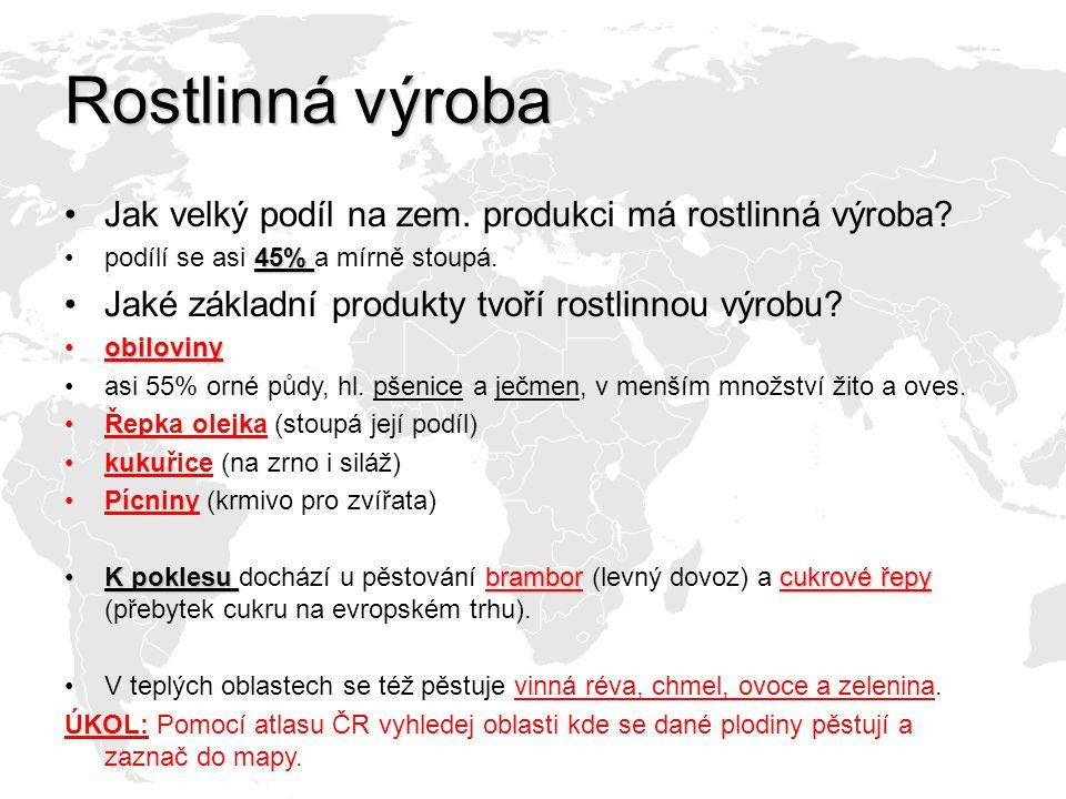 Řešení Pšenice: Pěstuje se skoro po celém území ČR.