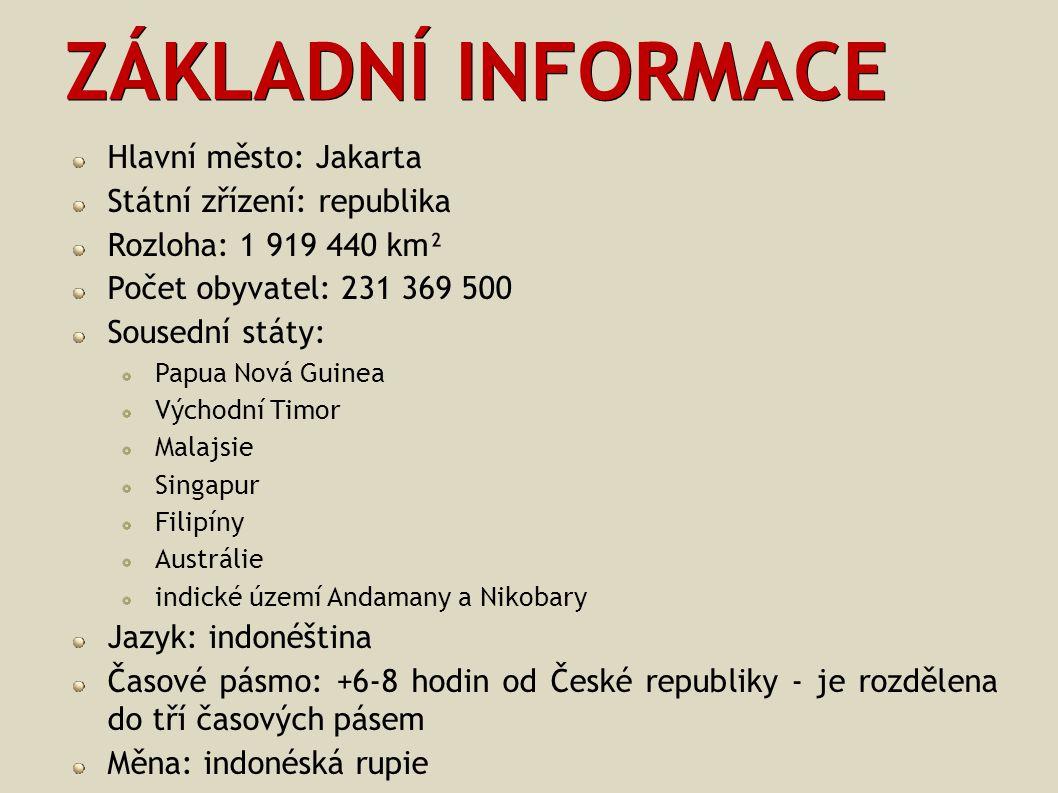 ZÁKLADNÍ INFORMACE Hlavní město: Jakarta Státní zřízení: republika Rozloha: 1 919 440 km² Počet obyvatel: 231 369 500 Sousední státy: Papua Nová Guine