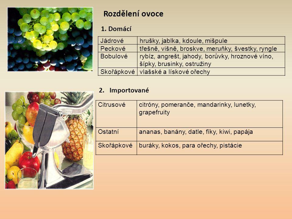Rozdělení ovoce Jádrovéhrušky, jablka, kdoule, mišpule Peckovétřešně, višně, broskve, meruňky, švestky, ryngle Bobulovérybíz, angrešt, jahody, borůvky