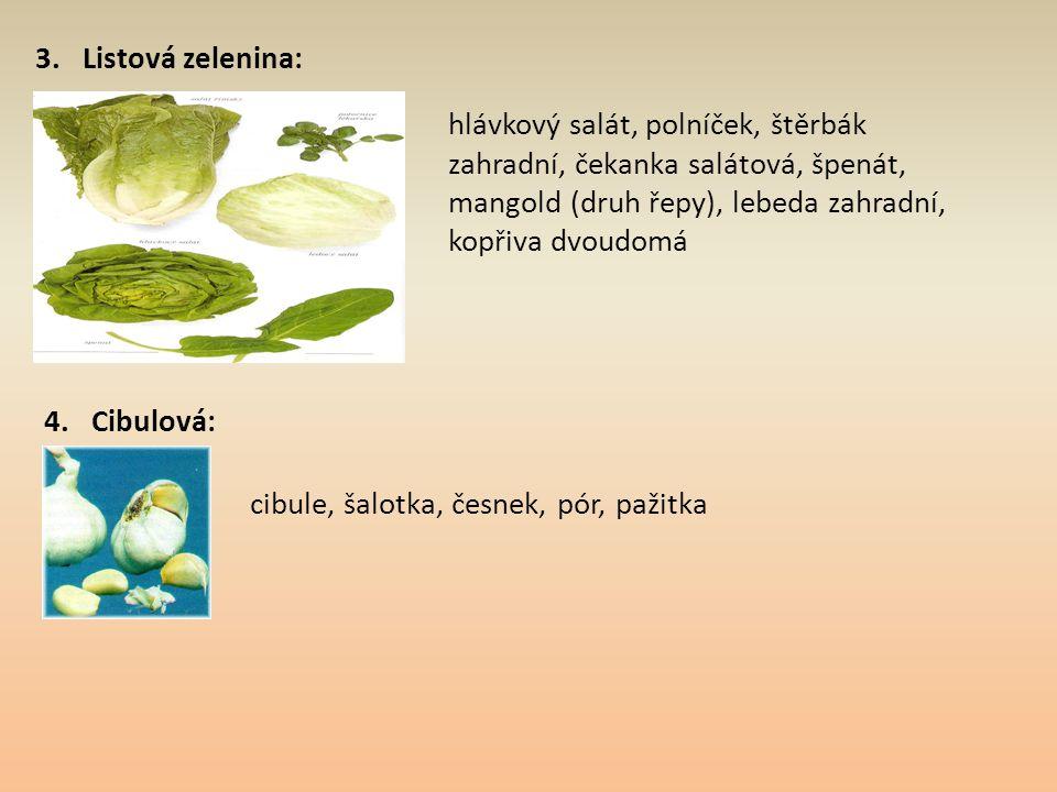 3. Listová zelenina: hlávkový salát, polníček, štěrbák zahradní, čekanka salátová, špenát, mangold (druh řepy), lebeda zahradní, kopřiva dvoudomá 4. C