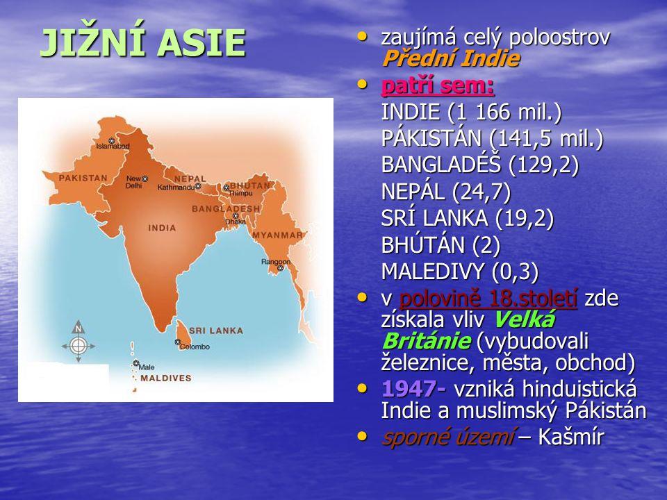 JIŽNÍ ASIE zaujímá celý poloostrov Přední Indie zaujímá celý poloostrov Přední Indie patří sem: patří sem: INDIE (1 166 mil.) PÁKISTÁN (141,5 mil.) BA