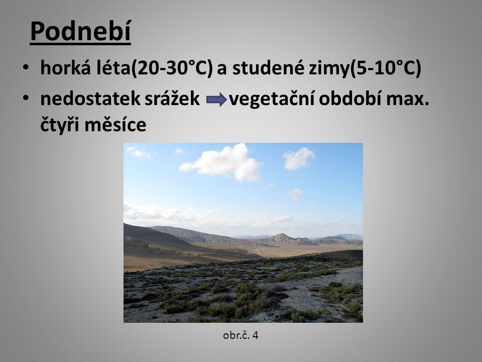 Podnebí horká léta(20-30°C) a studené zimy(5-10°C) nedostatek srážek vegetační období max.